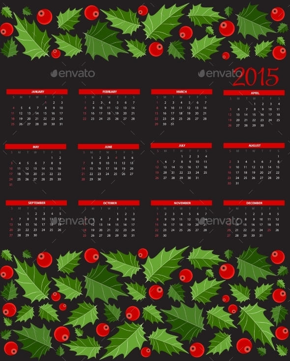 New Year 2015  Calendar Vector Illustration - Christmas Seasons/Holidays