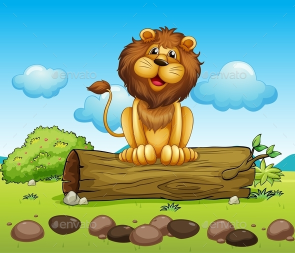 Happy Lion on a Trunk of a Tree - Animals Characters