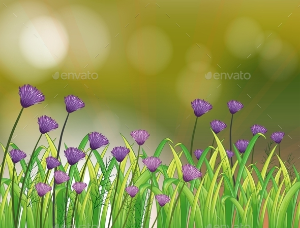 Stationery with a Garden of Violet Flowers - Flowers & Plants Nature