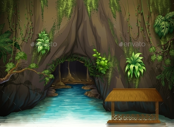 Cave of Water and a Wooden Shade - Nature Conceptual