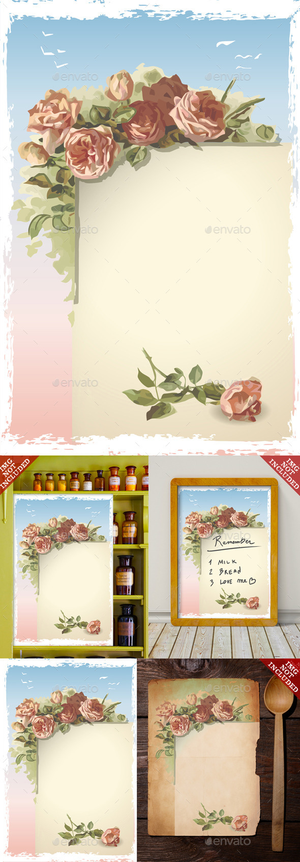 Vintage Roses Ornament on Old Page with Blue Sky - Decorative Vectors