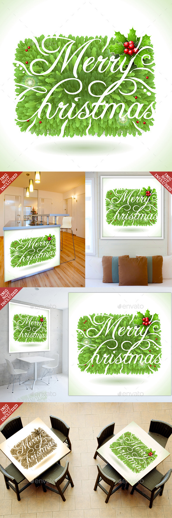 Holly Leaves and Merry Christmas Calligraphic Text - Christmas Seasons/Holidays