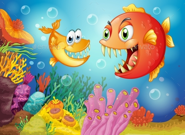 Two Fishes under the Sea - Animals Characters