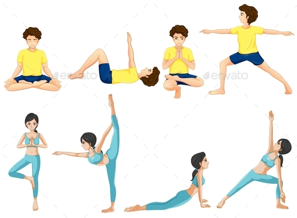 Different Yoga Poses - People Characters