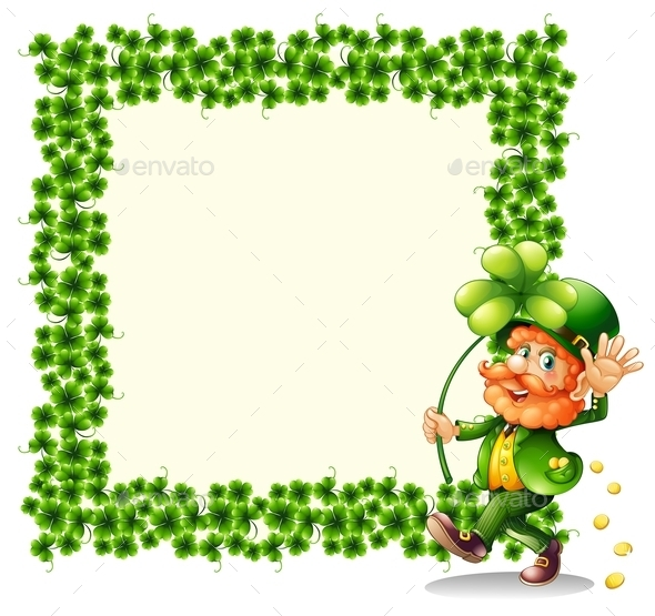 Man holding a Clover Leaf beside a Frame  - People Characters