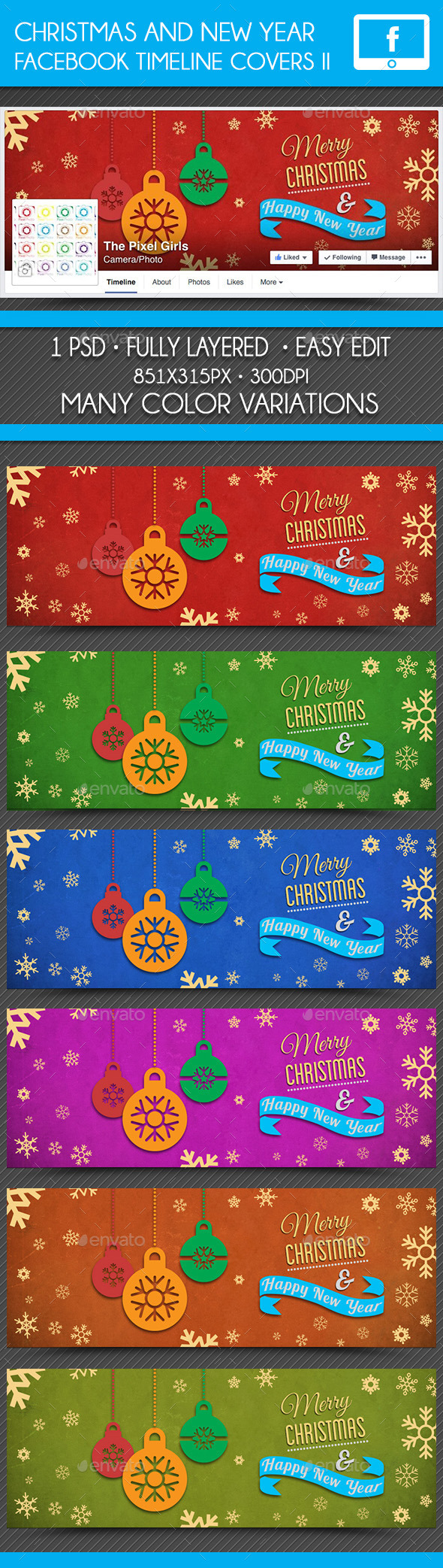 Christmas & New Year Facebook Timeline Cover II - Facebook Timeline Covers Social Media