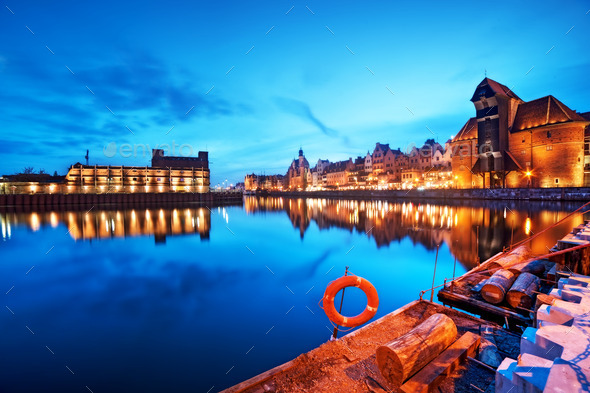 Gdansk, Poland old town, Motlawa river and famous crane, Polish Zuraw - Stock Photo - Images