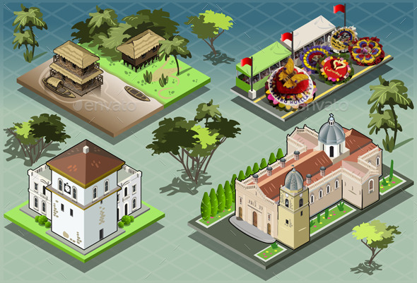 Isometric Tiles of South American Buildings - Buildings Objects