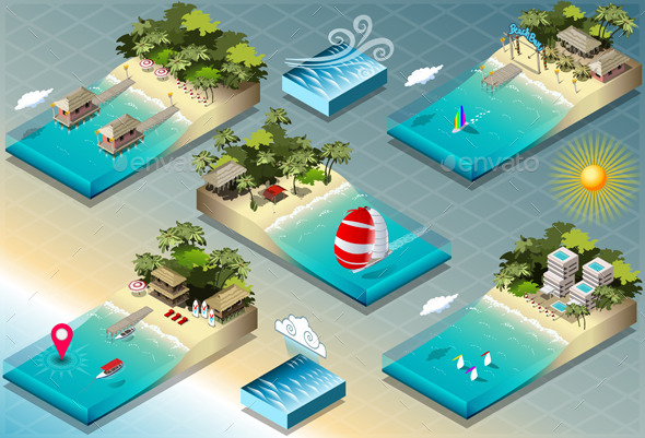Isometric Tiles of Carribean Holidays - Nature Conceptual