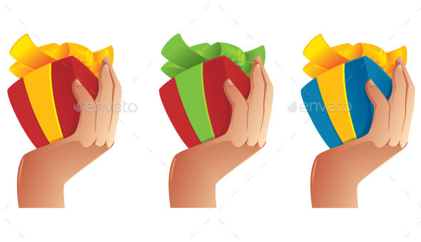 Man Hand Holding a Gift - Objects Vectors