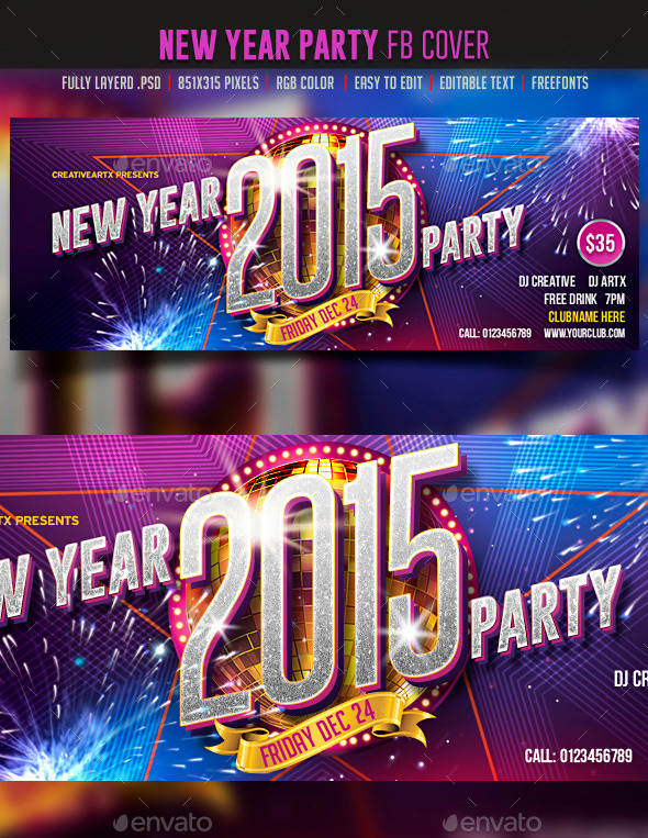 New Year Party FB cover - Facebook Timeline Covers Social Media