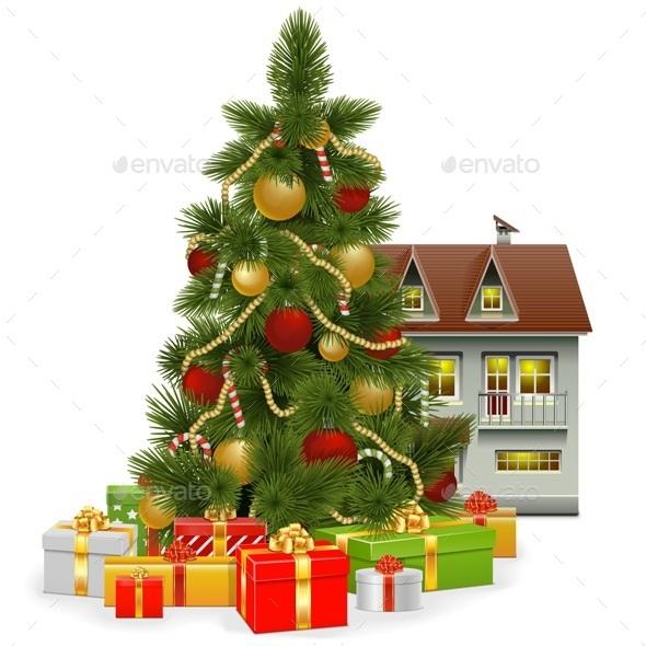 Vector Christmas Tree with House - Christmas Seasons/Holidays