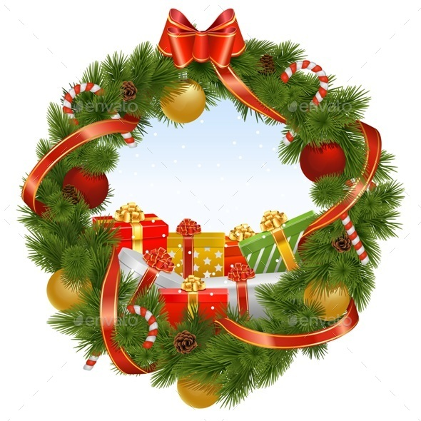 Vector Christmas Wreath with Background - Christmas Seasons/Holidays
