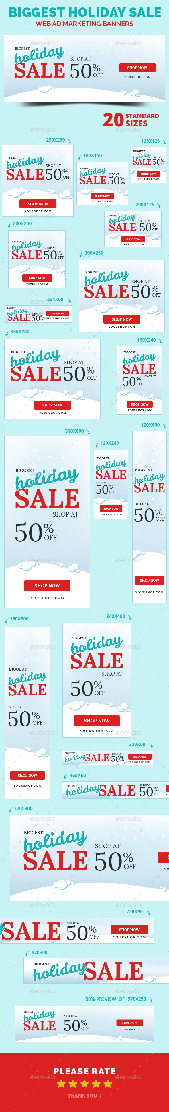 Biggest Holiday Sale Web Ad Marketing Banners - Banners & Ads Web Elements