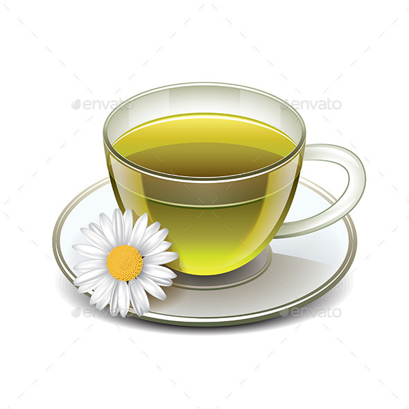 Green Tea Cup with Chamomile - Food Objects