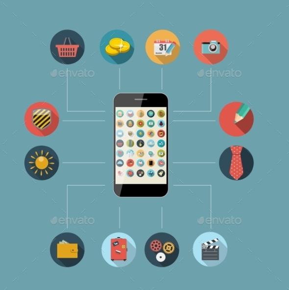 Flat Design Concept Mobile Phone Apps - Web Technology
