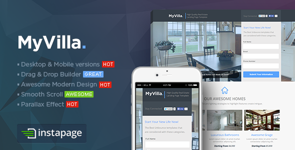 MyVilla - Real Estate Instapage Template - Instapage Marketing