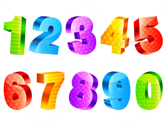 Colorful Numbers - Decorative Vectors