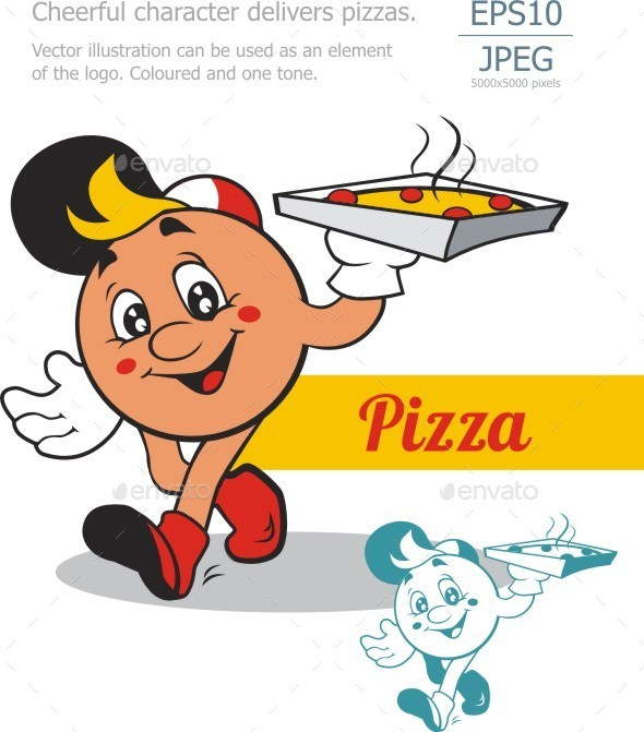 Cheerful Character Carries Pizza - Miscellaneous Characters