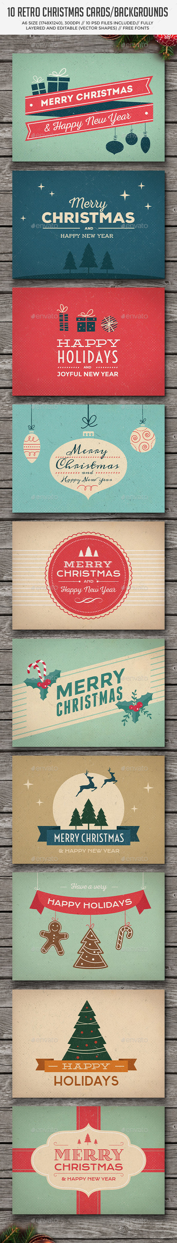 10 Retro Christmas Cards/Backgrounds - Backgrounds Graphics