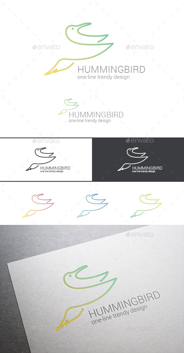 Logo Hummingbird Line Art Abstract - Animals Logo Templates