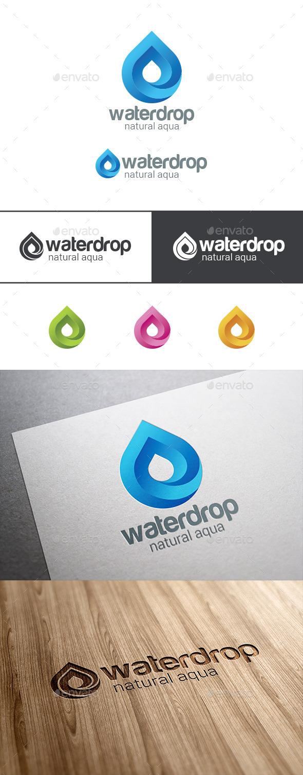 Waterdrop Logo Infinite Mineral Water Droplet - Symbols Logo Templates