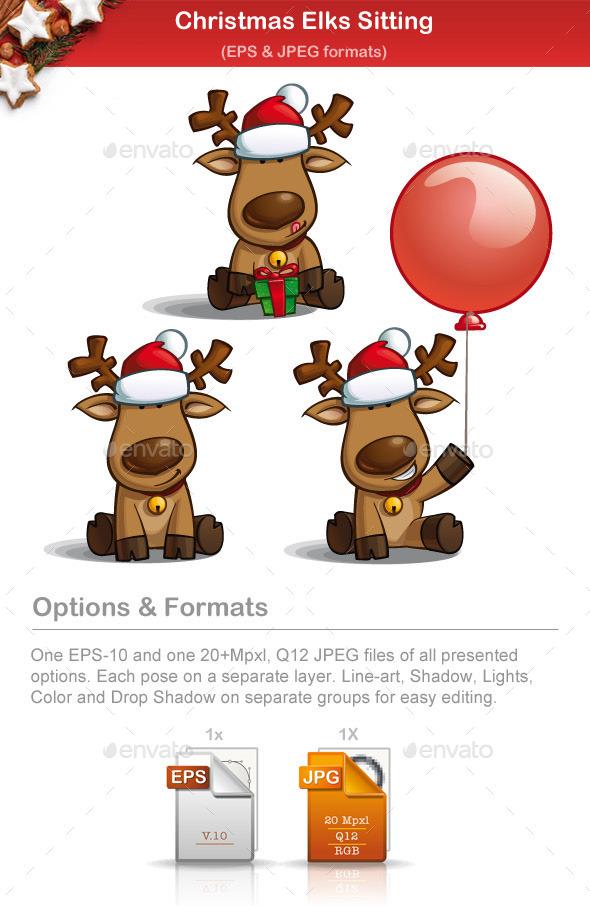 Christmas Elks Sitting - Christmas Seasons/Holidays