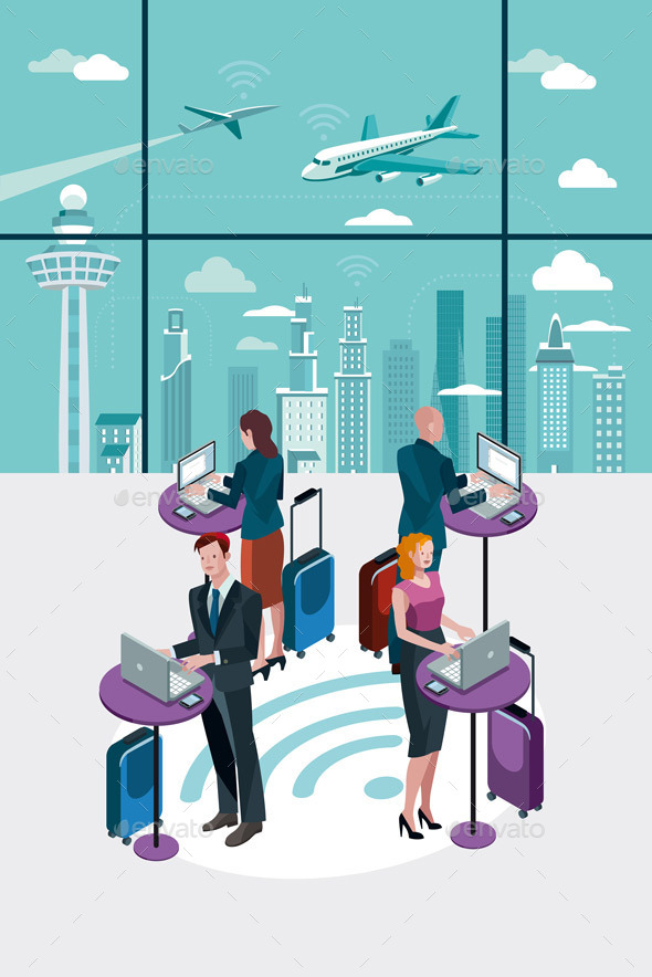 Business People Using Laptop at Airport - Concepts Business
