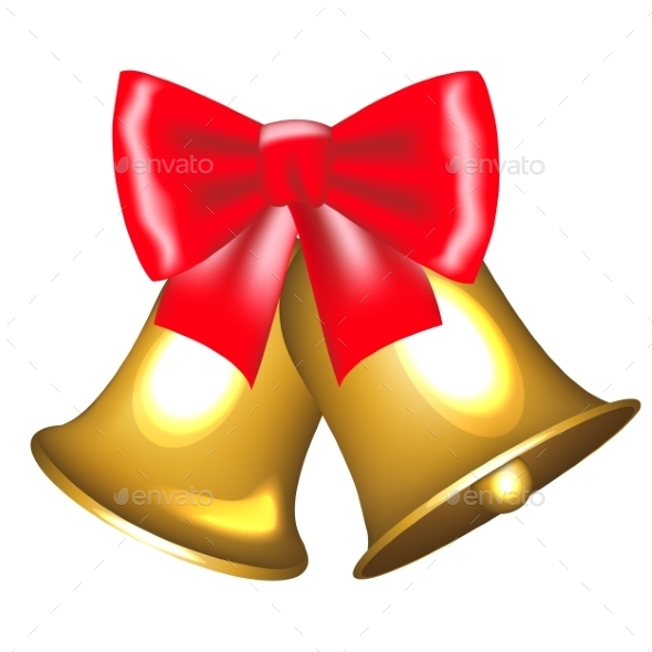 Golden Bells with Bow - Christmas Seasons/Holidays
