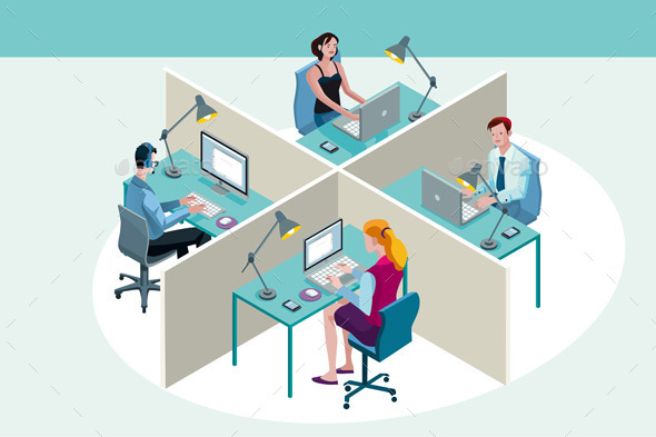 Office Workers Sitting at Their Desks - Business Conceptual