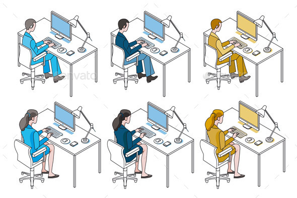 Office Workers with Computer - Business Conceptual