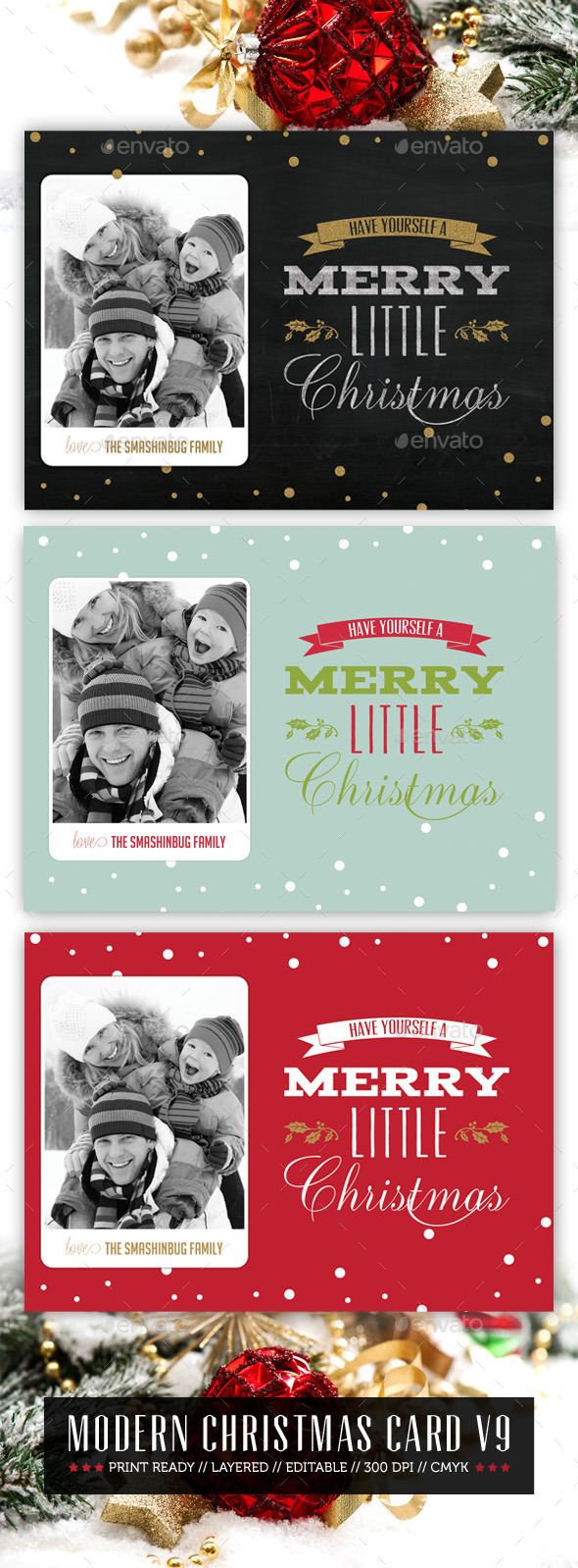 Modern Christmas Card V9 - Holiday Greeting Cards