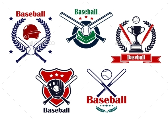 Colored Baseball Emblems and Badges - Sports/Activity Conceptual