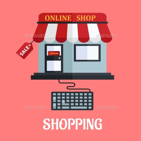 Online Shopping Flat Design - Retail Commercial / Shopping