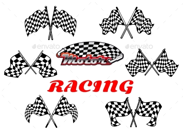 Black and White Heraldic Checkered Racing Flags - Sports/Activity Conceptual