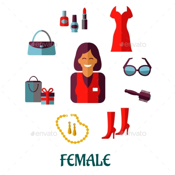 Female Shopping Flat Icons - Retail Commercial / Shopping