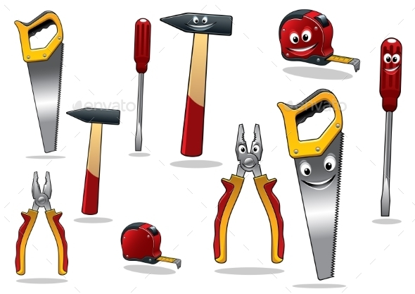 Set of DIY Cartoon Tools - Characters Vectors