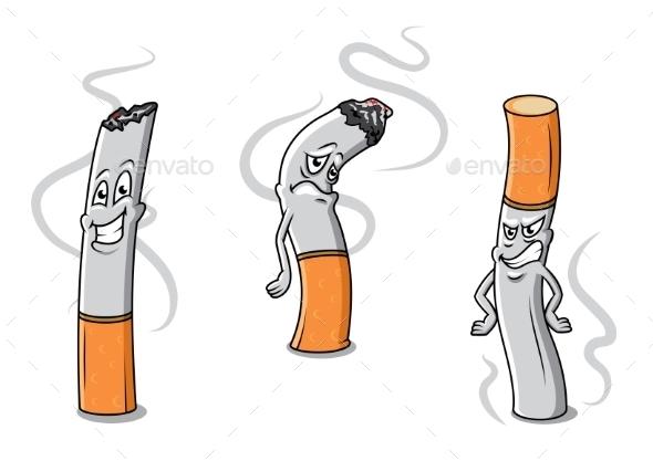 Cigarettes Characters - Health/Medicine Conceptual