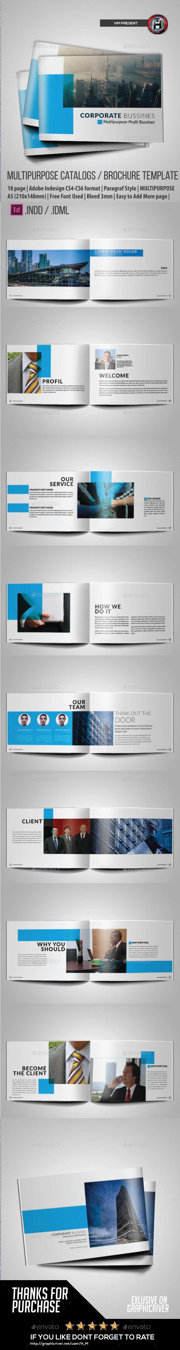 Business Brochure Indesign Horizontal - Brochures Print Templates