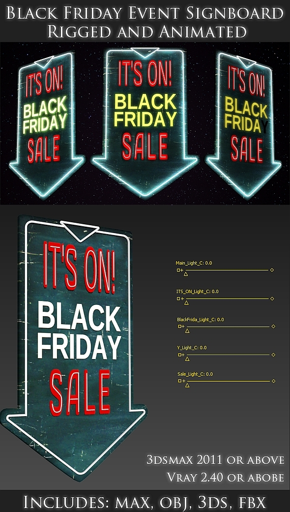 Black friday - 3D Sign board - Rigged and Animated - 3DOcean Item for Sale