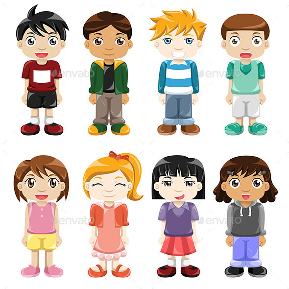 Different Kids Expressions - People Characters
