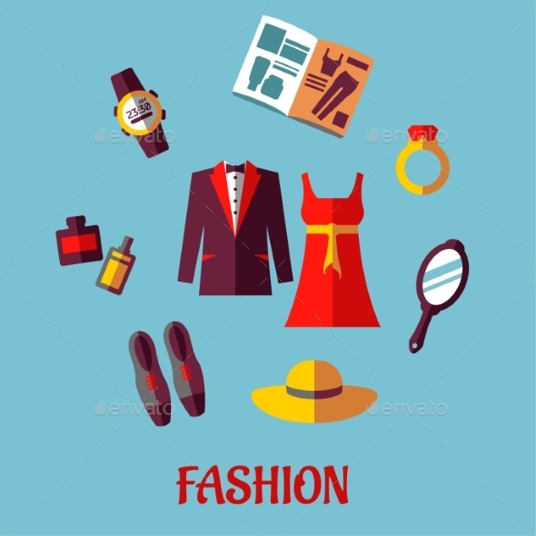Flat Fashion Icons - Retail Commercial / Shopping
