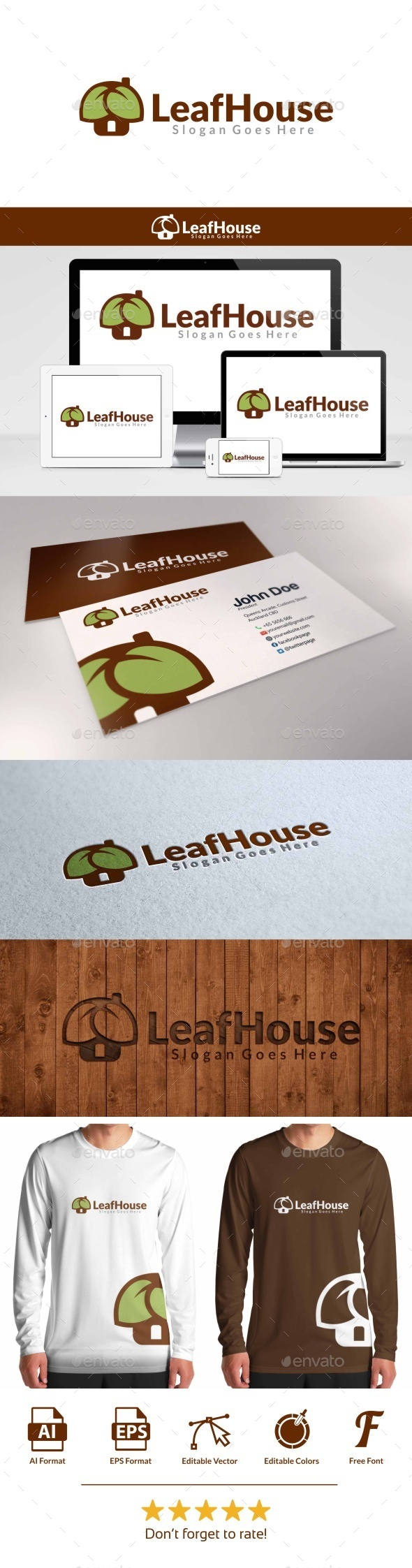 Leaf House Logo - Objects Logo Templates