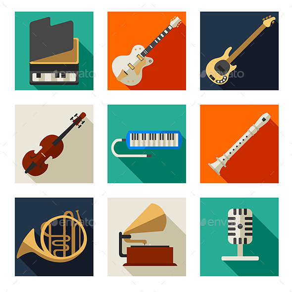 Musical Instruments Icons - Objects Vectors