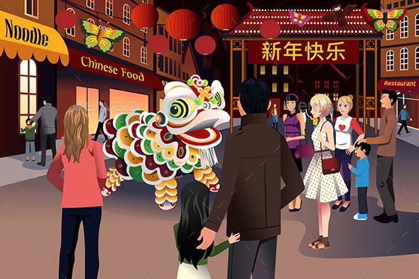 People Celebrating Chinese New Year - Seasons/Holidays Conceptual