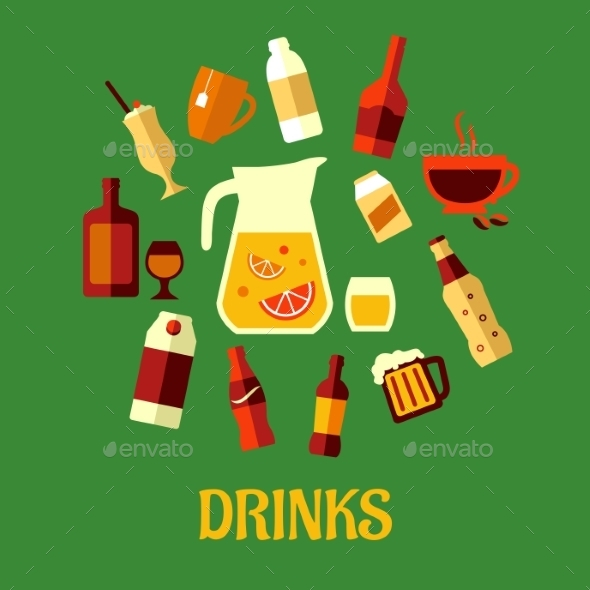 Flat Assorted Beverages and Drinks - Food Objects
