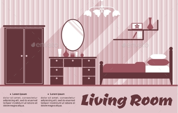 Living Room Flat Interior - Miscellaneous Vectors