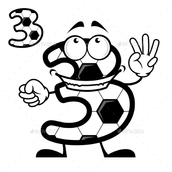 Number 3 with a Soccer Ball Pattern - Miscellaneous Characters