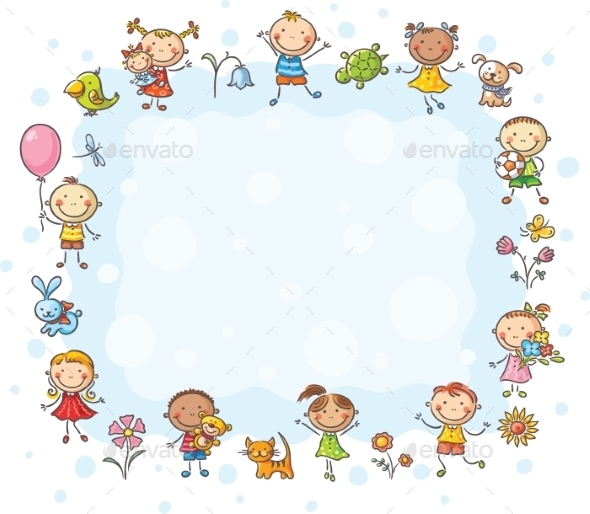 Frame with Children and Flowers - Backgrounds Decorative
