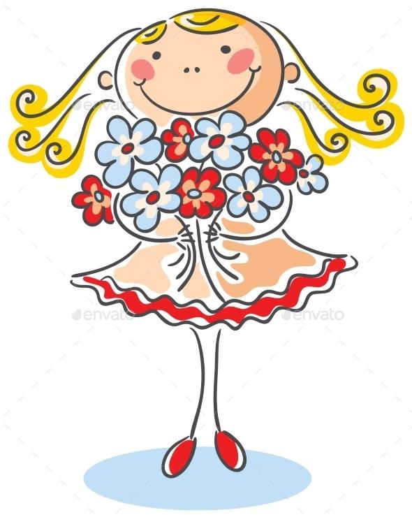 Girl with Flowers - Birthdays Seasons/Holidays